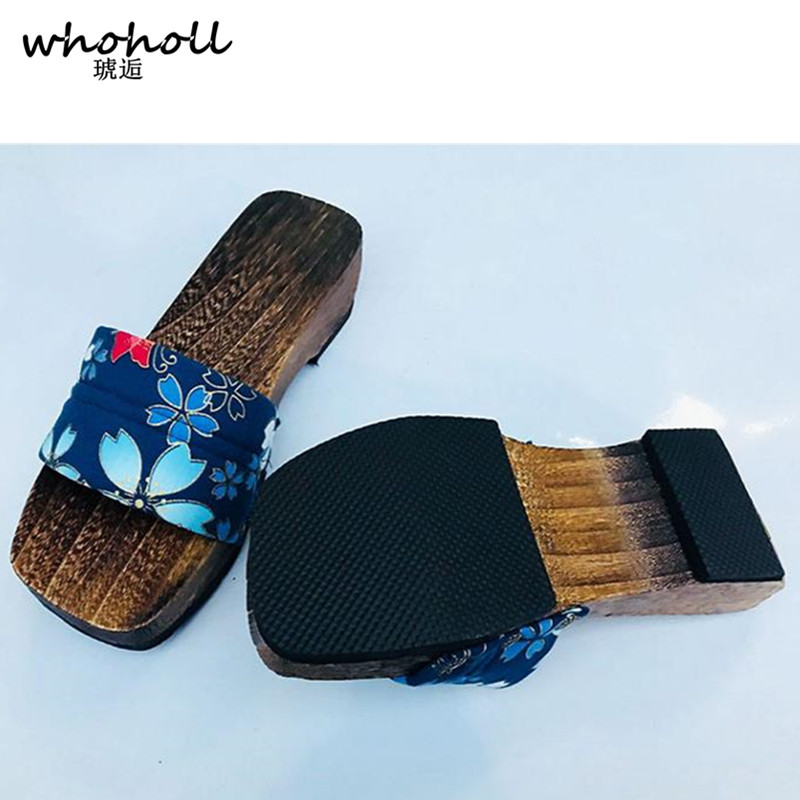 WHOHOLL Geta Summer Sandals for Women Wooden Slippers Japanese Style Wooden Slippers Open Toe Clogs for Women Cherry Blossoms in Slippers from Shoes