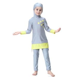 Image 5 - Hijab Islamic Swimsuit for Kids Swimwear Childrens Modest Swim Wear Long Sleeve Plus Size Girls Burkini 2 Piece Swimming Suit