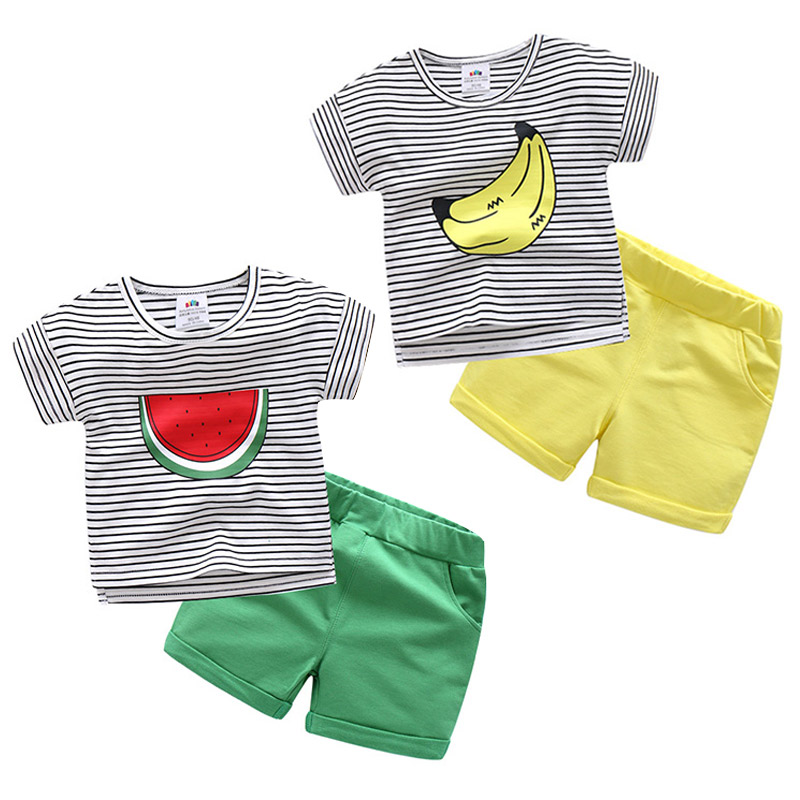Baby Boy Suit Clothes Children Summer Toddler Boys Clothing Set Striped Fruit Watermelon Banana Print T Shirt + Shorts 2pcs Set 2pcs children outfit clothes kids baby girl off shoulder cotton ruffled sleeve tops striped t shirt blue denim jeans sunsuit set