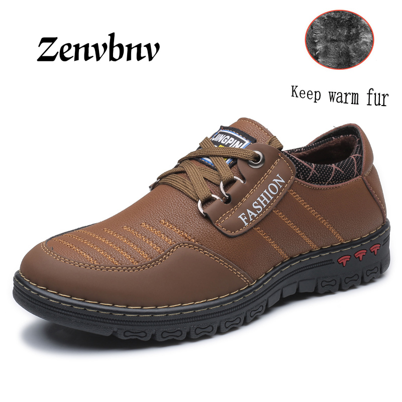 ZENVBNV Autumn Winter Warm Fur Male Genuine Leather Casual Shoes For Men Adult 2017 Brand Work