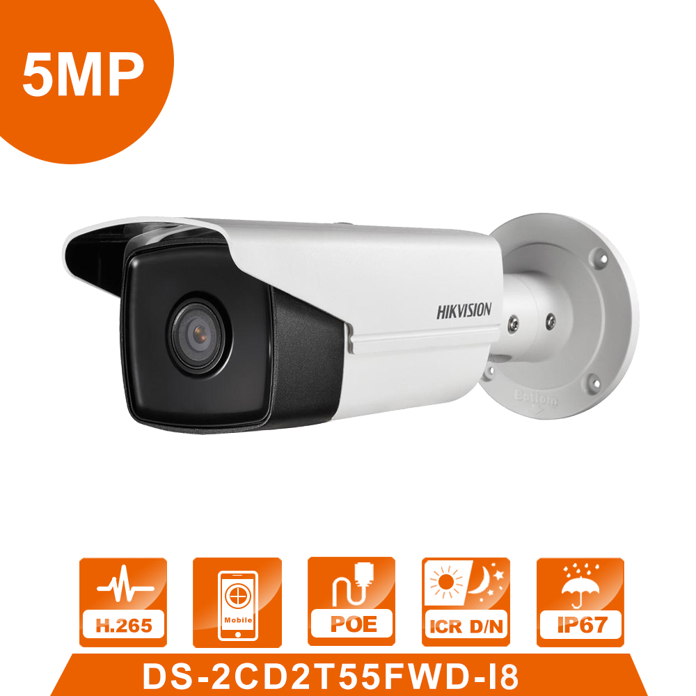 International Version Surveillance Camera DS-2CD2T55FWD-I8 5MP WDR Bullet IP Camera IR 80m IP 66 Replace DS-2CD2T52-I5 hikvision cctv ip camera ds 2cd2t85fwd i5 i8 8mp real time video ir bullet camera network poe 80m ir range