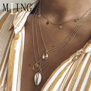 MLING Vintage Crystal Circle Sequins Shell Pendant Boho Multilayer Chokers Necklace