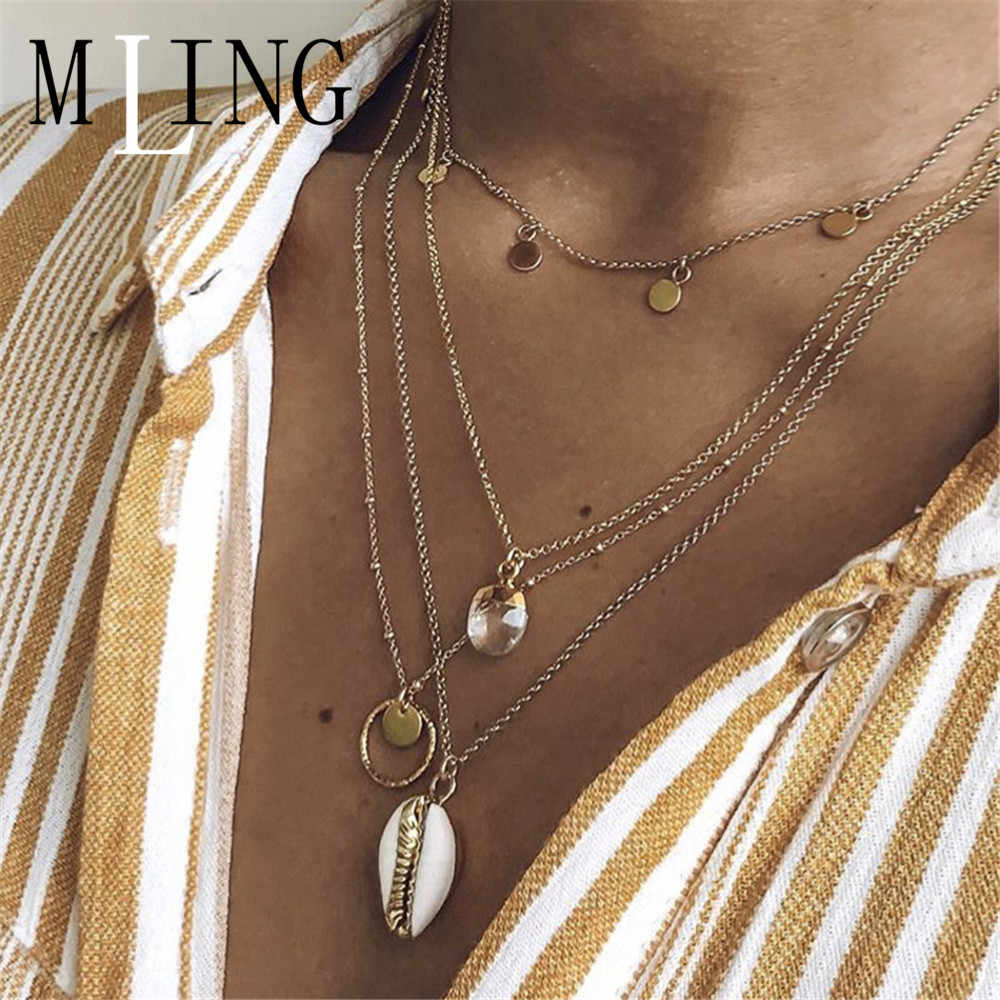 MLING Vintage Crystal Circle Sequins Shell Pendant Necklace For Women Boho Multilayer Chokers Necklace Jewelry