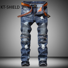 Summer ripped jeans men Runway Slim denim Biker Straight man Elastic trousers Casual hombre fashion brand Distressed Cargo pants