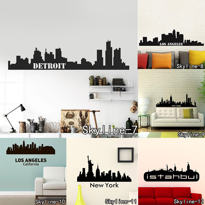 <font><b>Istanbul</b></font> Landmarks New York Wall Sticker Skyline Wall Art City Building London Skyline Silhouette Moscow Vinyl Mural Decal image