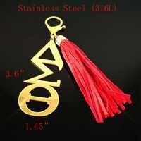 Topvesko Griechischen Edelstahl DST Rot Lange Leder Quaste Keychain für Delta Sigma Theta Buchstaben Schlüsselring