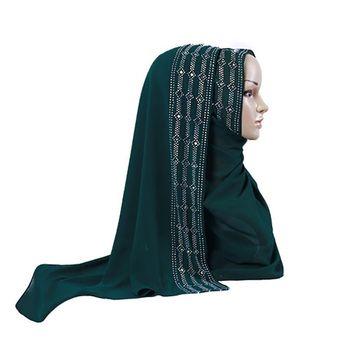 New 2019 Spring Summer Bubble Chiffon Muslim Hijab Scarf Women Plain Turban Shawl Colorful Rhinestone Long Turkish Head Scarf summer square scarf turkish muslim hijab pearl chiffon islamic headscarf women plain shawl with colorful rhinestone 105x105cm