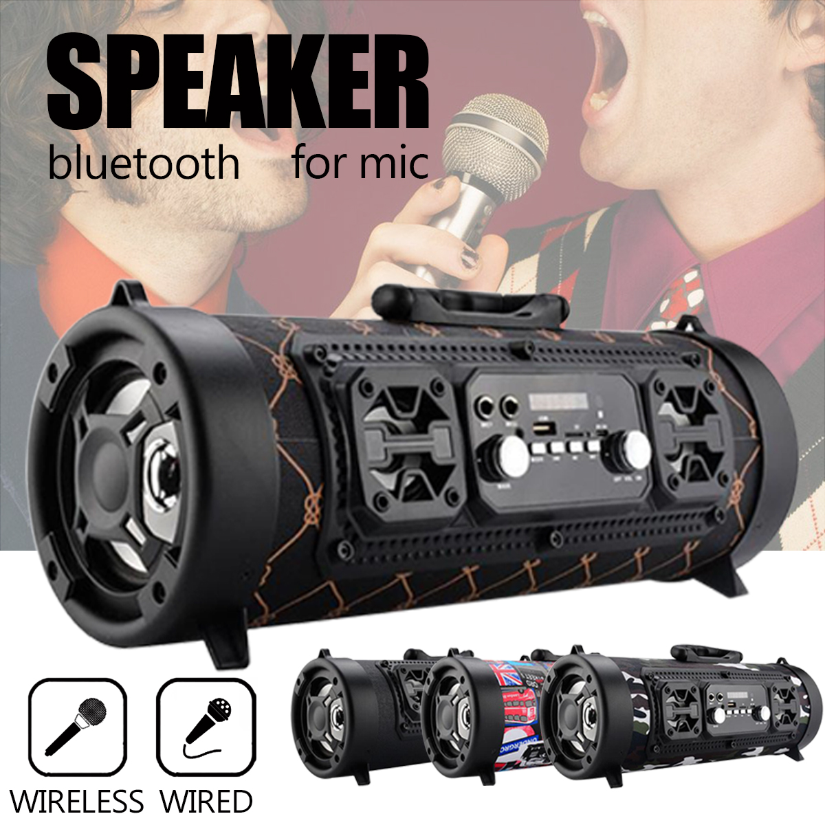 Portable Wireless Bluetooth 4.2 Speaker Hifi Music Surround Stereo USB/ AUX/TF Card Subwoofer Loudspeaker Brass with MIC Outdoor qcy qq100 max mini wireless bluetooth 3 0 speaker surround stereo hifi subwoofer tf card led flashlight 2600mah