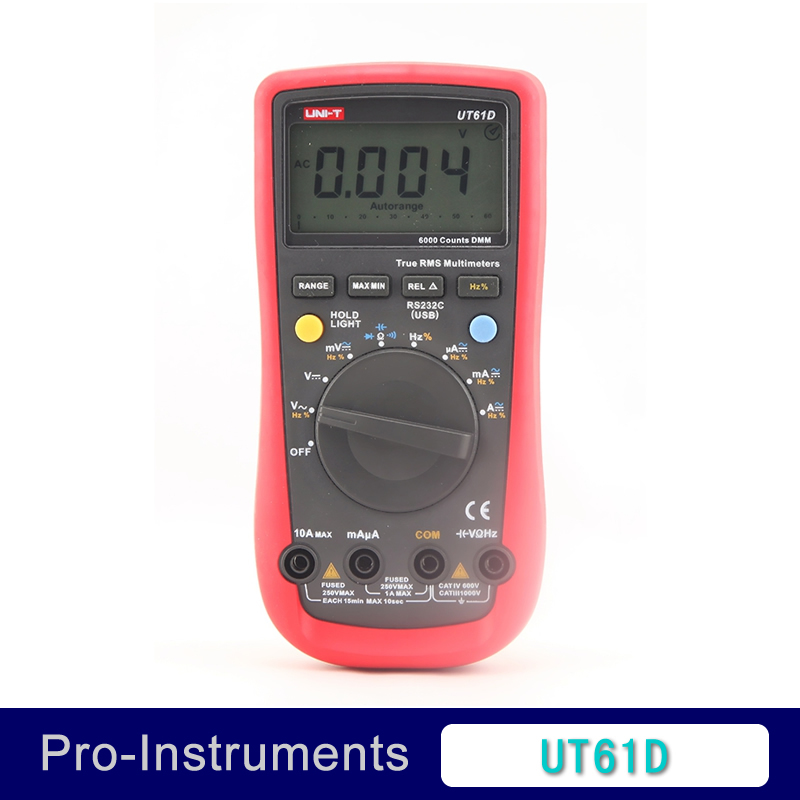 UNI-T UT61D Digital Multimeter True RMS Auto Range 6000 Counts Modern Digital Multimeters ACDC Meter CD Backlight uni t ut60b modern auto ranging data hold dmm digital multimeters w capacitance
