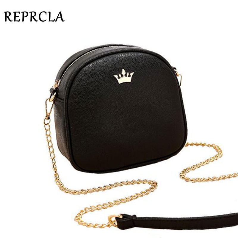 REPRCLA New Brand Designer Women Messenger Tasker Chain Strap Shoulder Bag High Quality Håndtasker PU Læder Crossbody With Crown