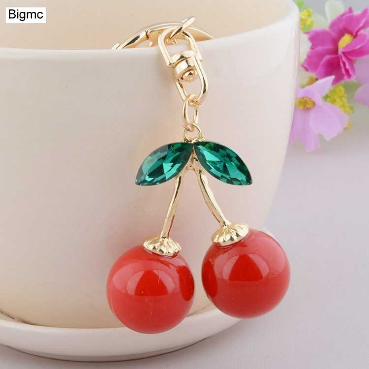 cherry keychain  New Fashion metal key chain cute red cherry lady car keychain KeyRing pendant female bag pendant jewelry K1122