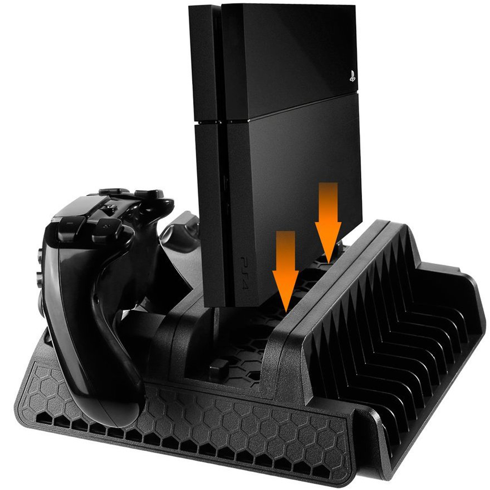 PS4 Series Vertical Stand with Cooling Fan and Dual Controllers Charging Station for PS4/PS4 Slim/PS4 Pro,3 Built-in Cooling Fan