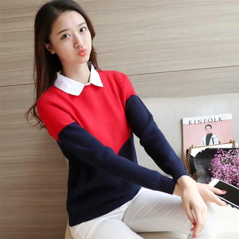 OHCLOTHING 2019 nieuwe Koreaanse vrouwen gebreide kleur shirt kraag trui F1517
