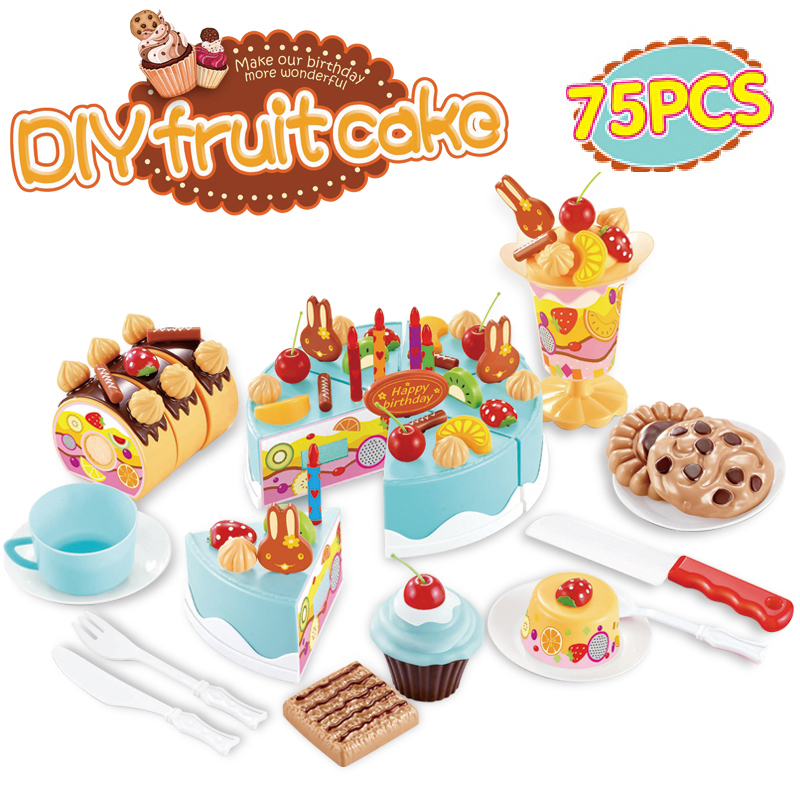 75pcs set baby kitchen toy birthday cake pretend play game for Kitchen set cake