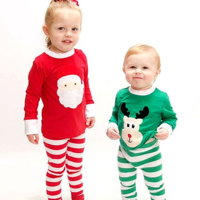 e336aaf2b 2PCS Christmas Clothes Set Infant Kids Baby Boy Girl T shirt Santa ...