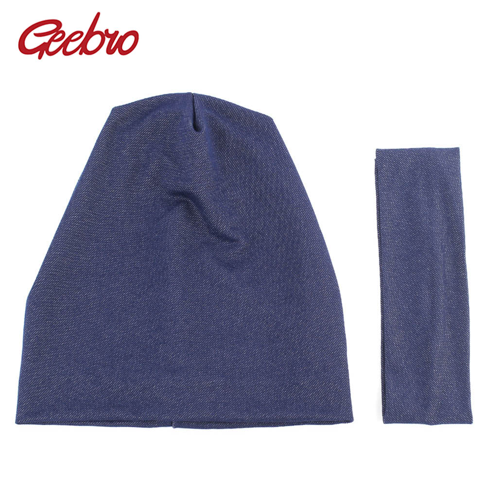 Geebro Women's   Beanie   New Plain Cotton Jean Slouchy   Beanie   for Women Knitted Hats Ladies Denim   Skullies     Beanies   Cap