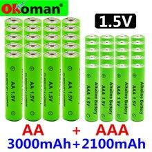 AA+ AAA, новинка, перезаряжаемая батарея AA 1,5 в, щелочная батарея AAA 2100-3000 ма/ч, фонарь, часы, mp3-плеер, сменная никель-металл-гидридная батарея