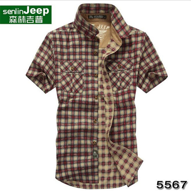 SenLin AFS JEEP M to 3xl Summer New Style Brand Cotton Plaid Cargo Pockets Shirt Short Sleeve Summer 2016 Casual Loose Shirts