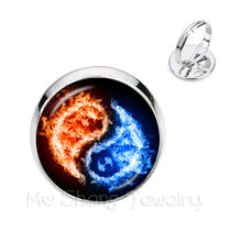 Yin Yang Glass Rings Women Girls Jewellery Silver/Golden Plated 2 Color Rings Natural Rustic Boho Style Symbolizing Harmony Gift(China)