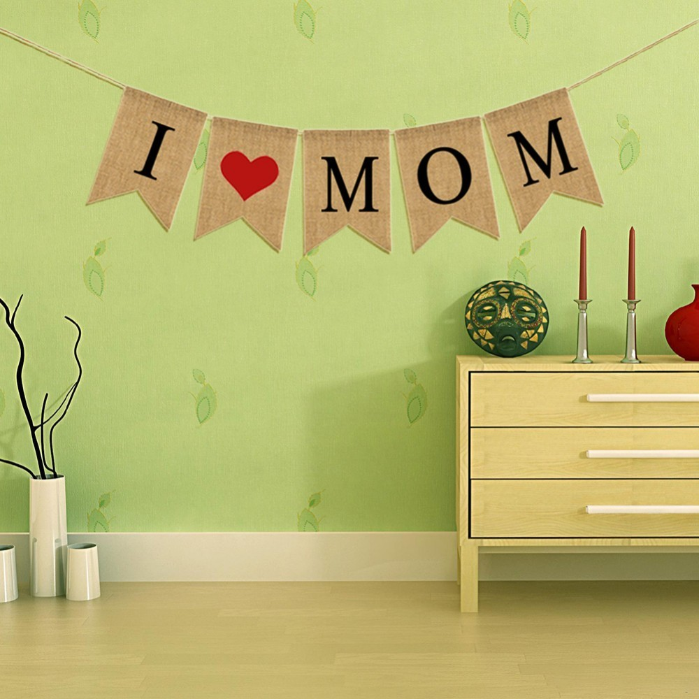 I Love Mom Banner Sweet Love Heart Flags Bunting Garland Hanging ...