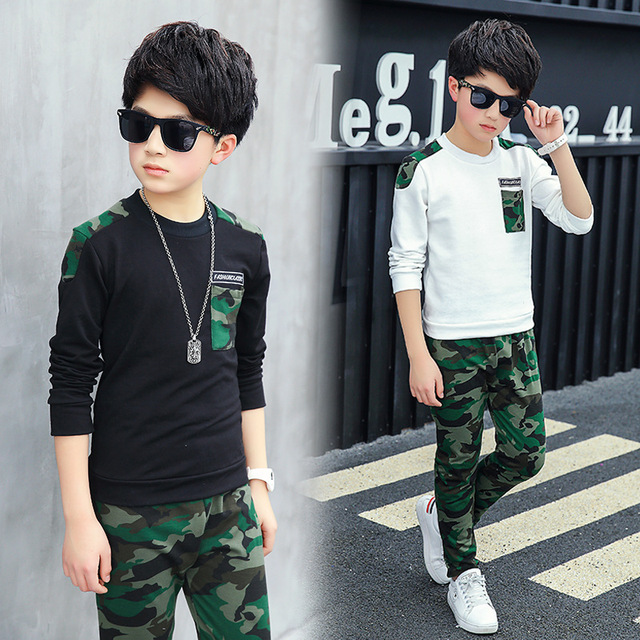 a3b4622c1c7b Teen Boys & Girls clothing set Casual Sweatshirt Camouflage sport suit for  children Spring autumn Letter Children clothing set