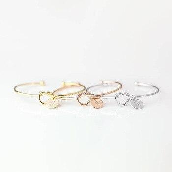 Hot Rose Gold/Silver Alloy Letter Bracelet Snake Chain Charm Bracelet Female Personality Jewelry 1