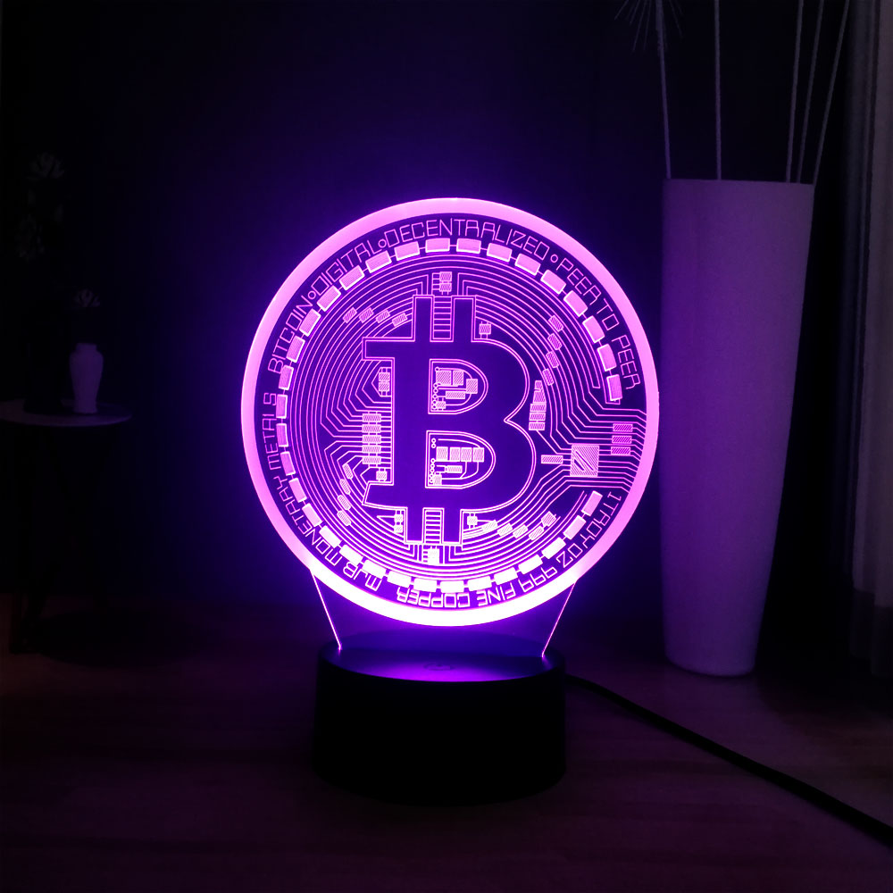Creative Currency Interesting Gift 3D LED 7 Color Change Bitcoin Bar Home DEC Atmosphere Table Night Lamp Best Gift For Friends