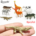 2016 New 8 pcs Hard Plastic Wild Animals Figures Set + crocodile Hippo horse Toys Kid Child nontoxic PVC Model Action Toys Kits