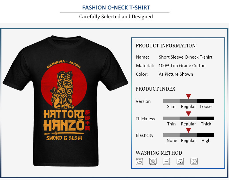 100% Cotton Fabric Men Short Sleeve Hattori Hanzo Top T-shirts Casual Tees Latest Design O Neck Sweatshirts Drop Shipping Hattori Hanzo