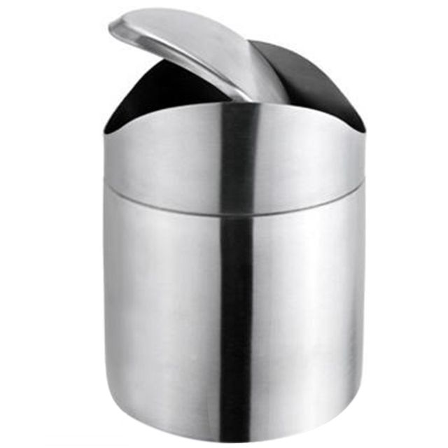 Stainless Steel Swing Lid Mini Trash Can Bin Garbage Box Desktop