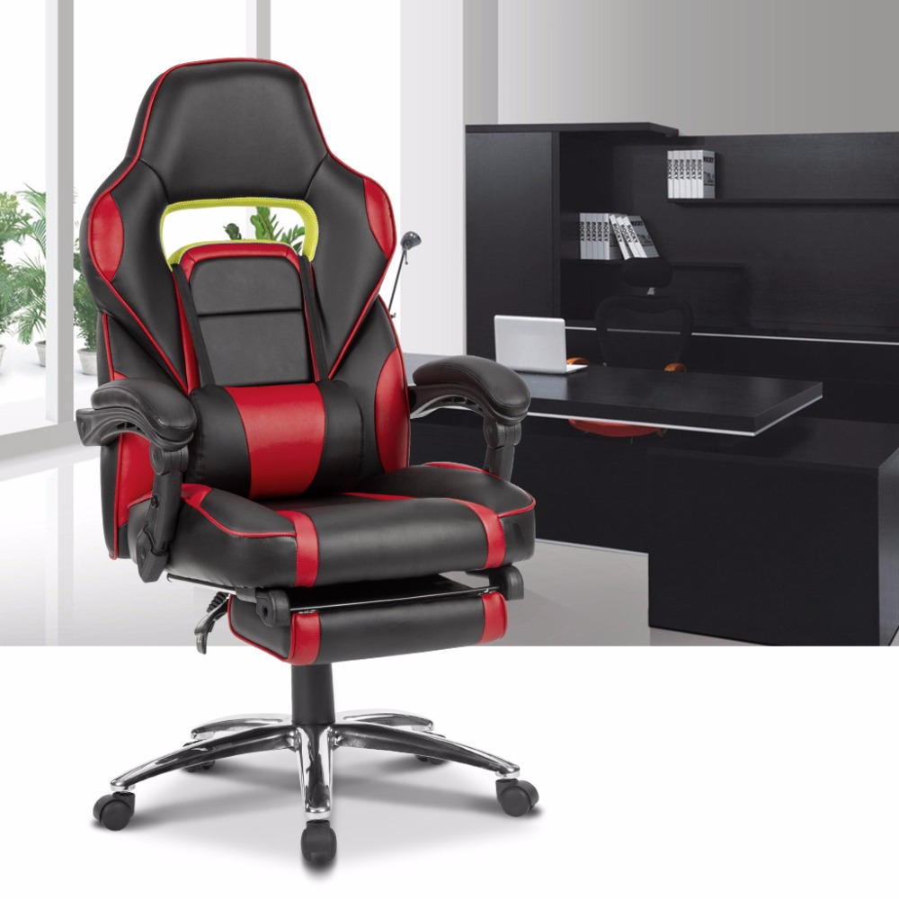 LANGRIA Ergonomic High Back Faux Leather Racing Style Reclining Computer  Gaming Executive Office Chair With Padded Footrest In Office Chairs From  Furniture ...