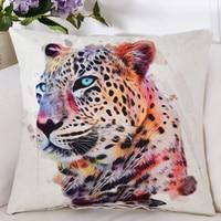 Cor Animais Leopardo Tigre Gato Cão de água Digital Imprimir Almofadas Decorativas 18x18 polegada 45*45 cm criativas Almofadas de Volta Da Cintura