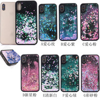 10pcs/lot Korea Shine Stars Hearts Quicksand Flowing Black Back Full Cover Case For iPhoneX 8/6s 7plus Skin Shell Protection