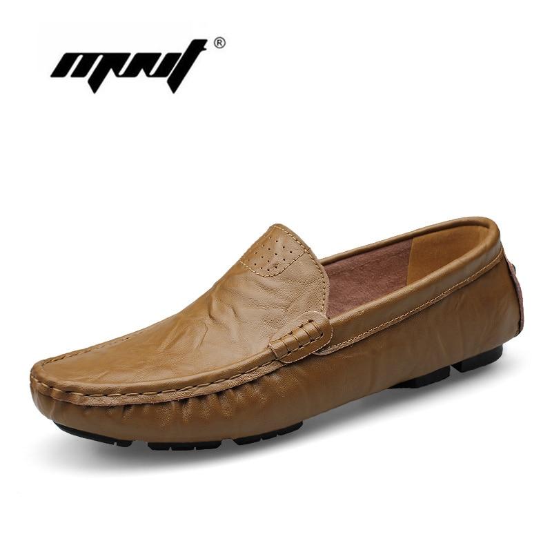 Hecho a mano de los hombres zapatos de los planos más tamaño genuino de cuero za