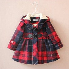 the British version  girl plaid coat long section of the folder cotton horn button hood plus cotton jacket age from 2-7T