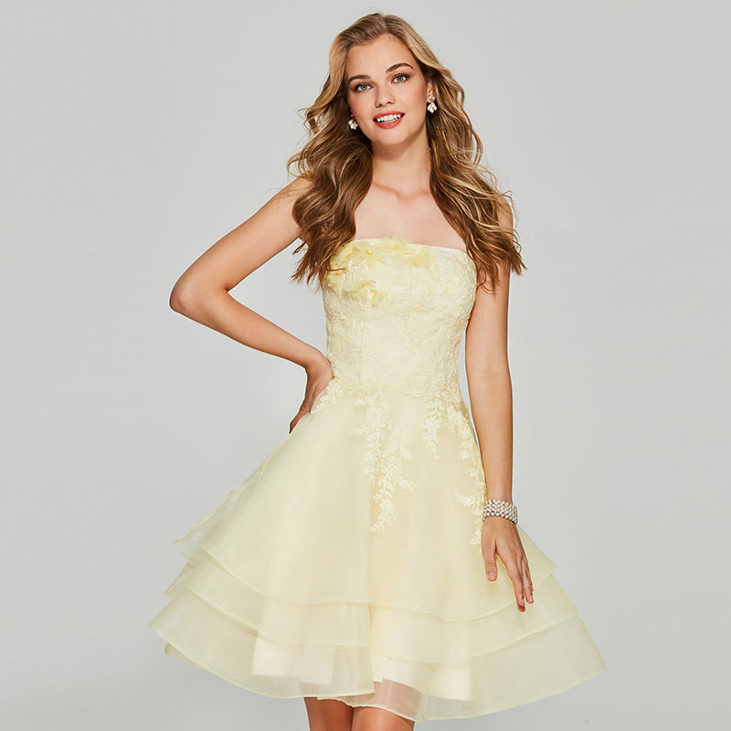 Tanpell Strapless Homecoming Dresses Light Yellow Appliques Sleeveless Women Custom Short Homecoming Dress Robe De Soiree 2019(China)