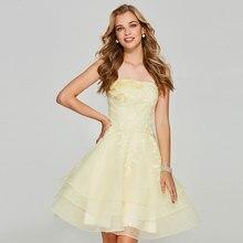 Tanpell strapless homecoming dresses light yellow appliques sleeveless women custom short dress Robe De Soiree 2019