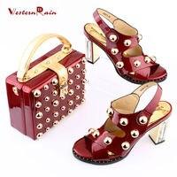 WesternRain/Итальянский новый Дизайн лакированные кожаные туфли С сумочкой в одинаковом стиле в комплекте в африканском стиле Для женщин насосы