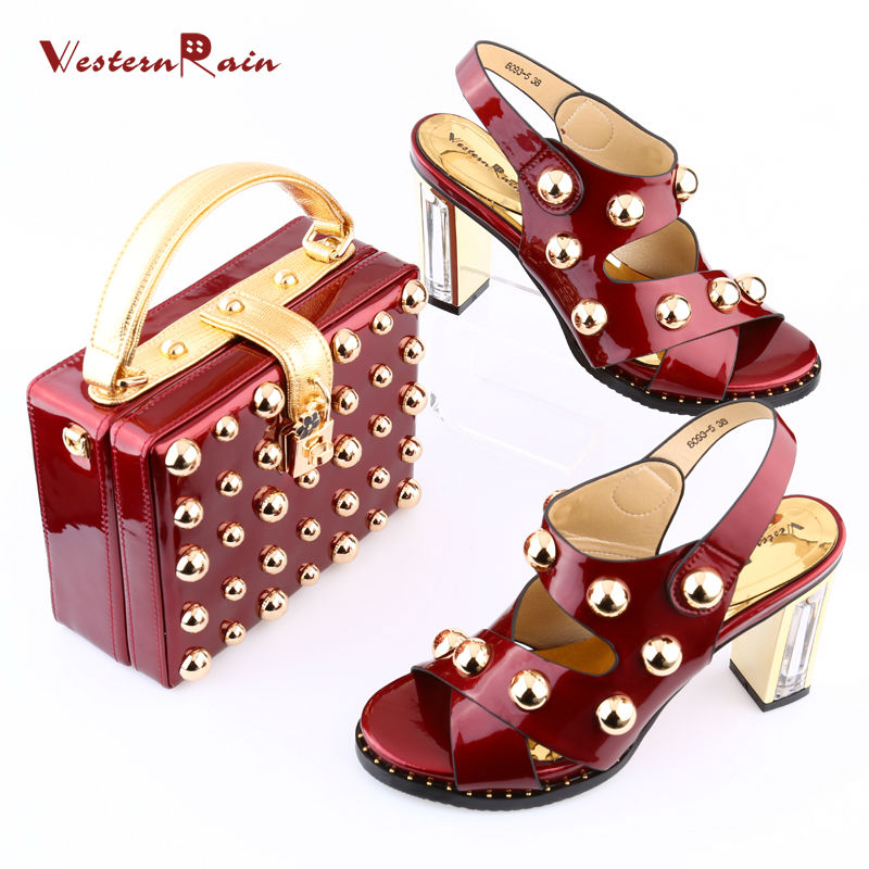 WesternRain Italian New Design Patent leather Shoes And Matching Bags Set African Women Pumps Ladies big size shoes for Dame sweet women s pumps with two piece and patent leather design