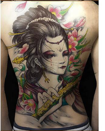 Waterproof temporary tattoo sticker tear japanese geisha - Tattoos geishas japonesas ...