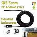 2em1 USB Endoscópio IP67 À Prova D' Água Com Lente de 7mm 6 LED Borescope inspeção Serpente Tubo Camera para Android Phone & PC Borescope
