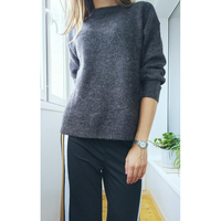 Women Knitted Soft Pullover Jersey Jumper Sweater With Mixed Wool For Autumn And Winter