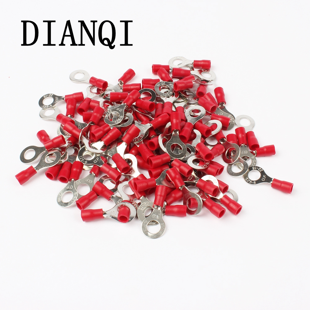 DIANQI RV1.25-6 Red 22-16 AWG 0.5-1.5mm2 Insulated Ring Terminal Connector Cable Wire Connector 100PCS/Pack RV1-6 RV 1meter red 1meter black color silicon wire 10awg 12awg 14awg 16 awg flexible silicone wire for rc lipo battery connect cable