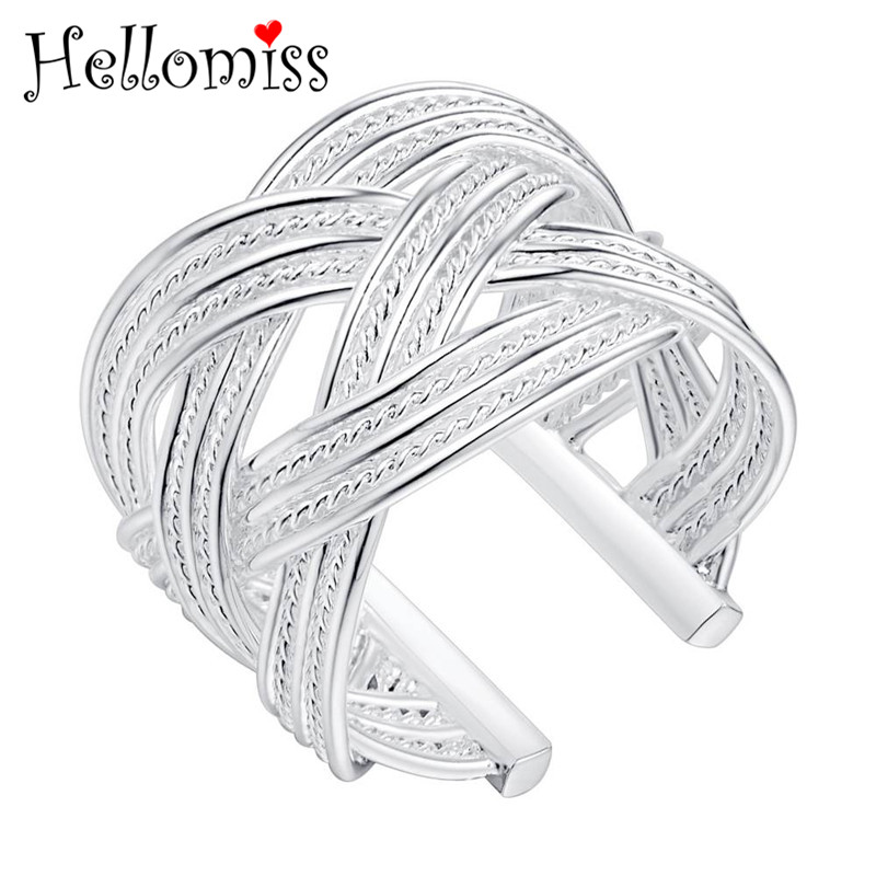 Silver Color Rings for Women Braided Open Ring Vintage Style Big Size Rings Fashion Brand Jewelry Birthday Gifts Bague Femme