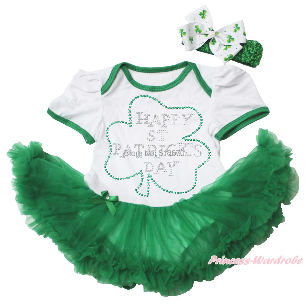 Rhinestone Happy St Patrick s Day Clover White Bodysuit