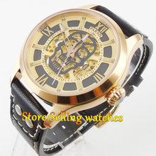 43mm Parnis Sapphire glass Black strap Gold miyota Automatic Movement Men's Watch
