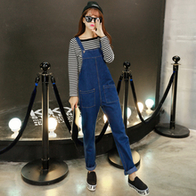 2016 Casual Jeans Salopette Women Suspender Jeans Straight Overall Mid Waist Pocket Denim Strap Trousers Jumpsuits plus size