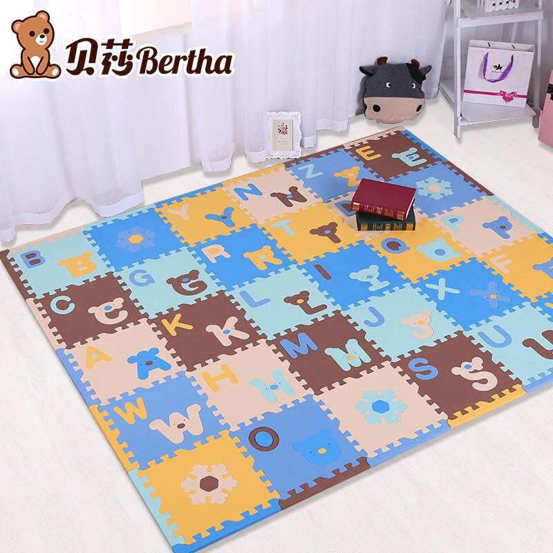 Mignon lettre EVA mousse bébé jouet Puzzle jeu tapis de verrouillage jeu exercice Gym carrelage sol Pad enfant 30x30x1.3 cm 30 pièces + 22 bordure