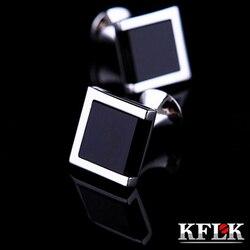 Kflk luxo quente camisa botões de punho para marca masculina manguito bouton de manchette preto manguito ligação alta qualidade abotoaduras jóias