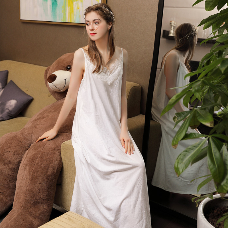 2019 New Sexy V-Neck   Nightgowns     Sleepshirts   Sleepwear Women Lace Cotton Night Wear Princess Dress Plus Size Homewear Honeymoon